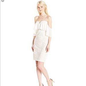 Sequin hearts off shoulders dress